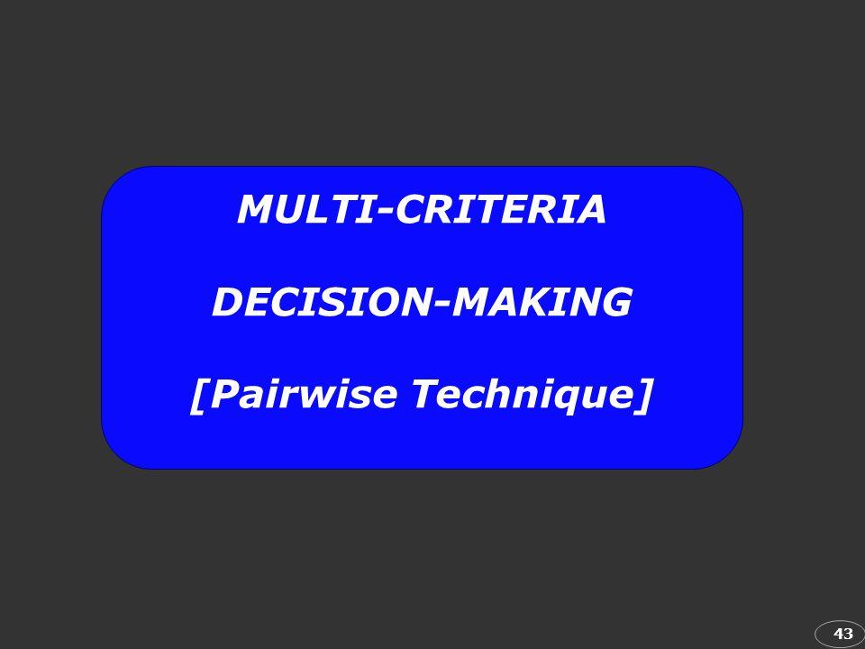 MULTI-CRITERIA DECISION-MAKING [Pairwise Technique]